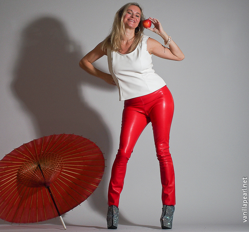 Christina, Vanilla Pearl, red leather pants, apple and white leather top