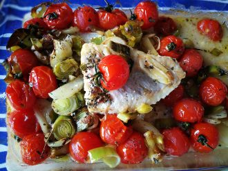 red perch with tomatoes